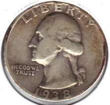 Nice 1938 P Washington Quarter - $10.00
