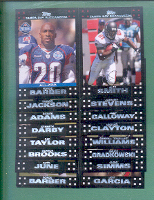 2007 Topps Tampa Bay Buccaneers Football Team Set