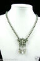 "Vintage clear crystal Rhinestones silver tone charmed Necklace 15""L - $46.39"