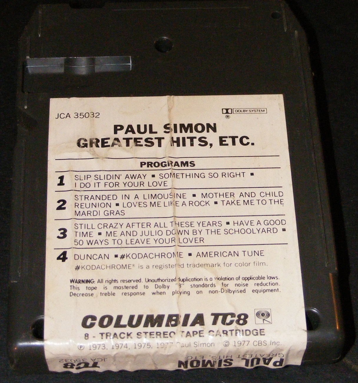 Paul Simon Greatest Hits, Etc 8 Track