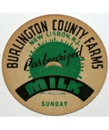 Vintage milk bottle cap BURLINGTON COUNTY FARMS Sunday New Lisbon New Je... - $9.99