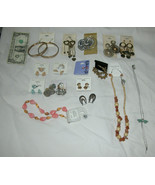 Lot of 16 Assorted Pierced Earrings, Necklaces, Fashion Costume Jewelry,... - $28.88