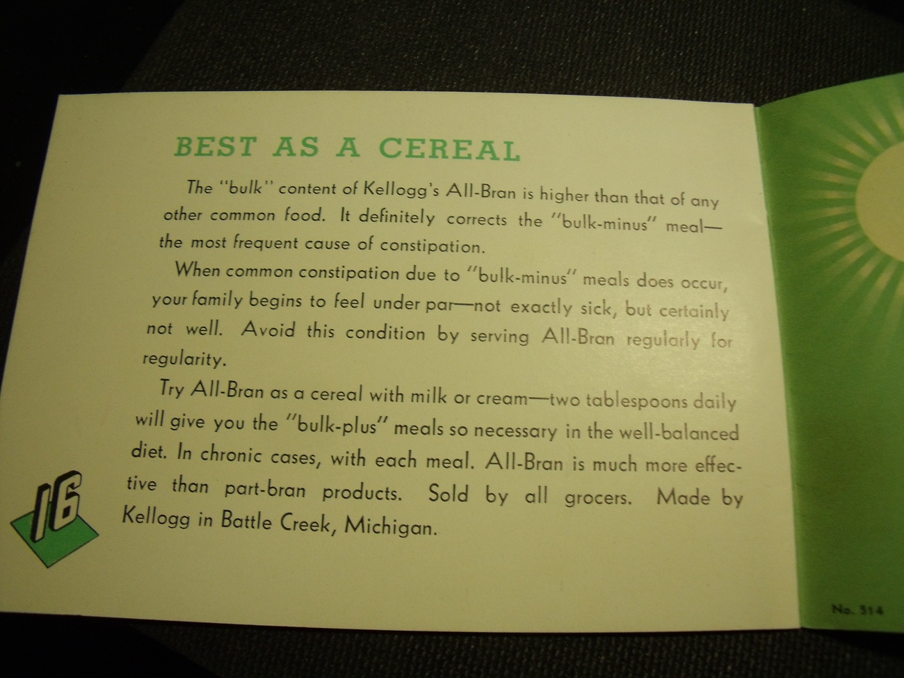 Original Kellogg's All-Bran recipes and uses