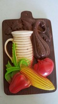 Kitchen plaque - plaster/chalkware - pitcher and fruit - $4.59