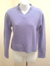 J Crew Sweater Medium Purple Lambswool V Neck Long Sleeves Pullover - $21.54