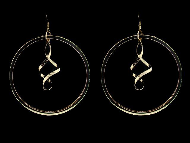 Extra Large Gold Plated Swirling Hoop Earrings