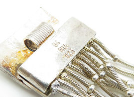 925 Sterling Silver - Vintage Multi-Strand Checkered Chain Bracelet - B6001 image 4