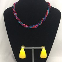 Vintage Beaded Necklace Hoop Earrings Lot 1980s Colorful Yellow Metal Hoops - $14.80