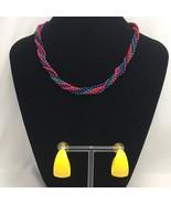 Vintage Beaded Necklace Hoop Earrings Lot 1980s Colorful Yellow Metal Hoops - $14.80
