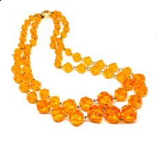 """1960's Orange 2 Strand Chain Necklace, Clear Acrylic Beads """"Made in Germ... - $22.76"""