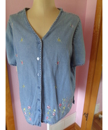 Fashion Bug Womens Blue Jean Shirt Top Embroidered Flowers 18/20W 533058 - $24.99