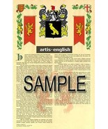 Artis Coat of Arms (Armorial Name History) Family Crest 11x17 Print Scroll - $18.99
