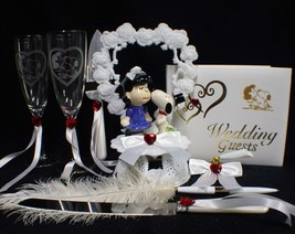 KISS SNOOPY DOG Germs LUCY Wedding Cake Topper LOT Glasses Kinfe  peanut... - $158.30