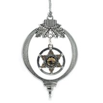 Inspired Silver Sheriff Badge Holiday Christmas Tree Ornament With Crystal Rhine - €12,80 EUR