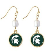 Michigan State Spartans Diana Gold and Pearl Dangle Earrings Jewelry Gif... - $16.82