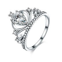 Solid 925 Sterling Silver Crown Ring 1 Ct Pear Cut for Lady Stylish Jewelry - $109.99