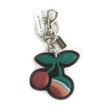 Coach Rainbow Glitter Cherry Black Leather 32674 Bag Charm Key Chain NWT