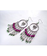 Large OOAK Butterfly and Flower Hoop Earrings Silver Green and Purple - $23.00