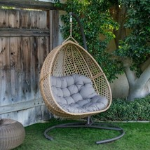 2 Seat Wicker Hanging Egg Chair Teardrop Double Resin Swing Loveseat w/ ... - $564.19