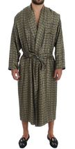 Green Chair Print SILK Robe Coat Nightgown - $370.00