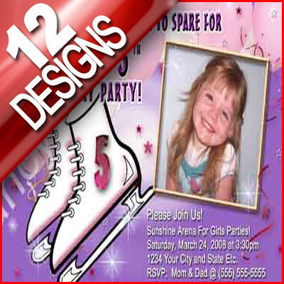 Primary image for Girl Ice Skating Personalized Birthday Party Invitation