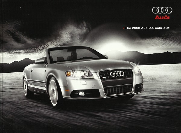 2008 audi a4 cabriolet sales brochure catalog us 08 2 0t 3. Black Bedroom Furniture Sets. Home Design Ideas