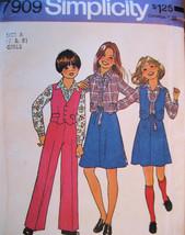 Vintage 70s Pattern Unused Girls 7 and 8 Skirt Pants S7909 - $7.95
