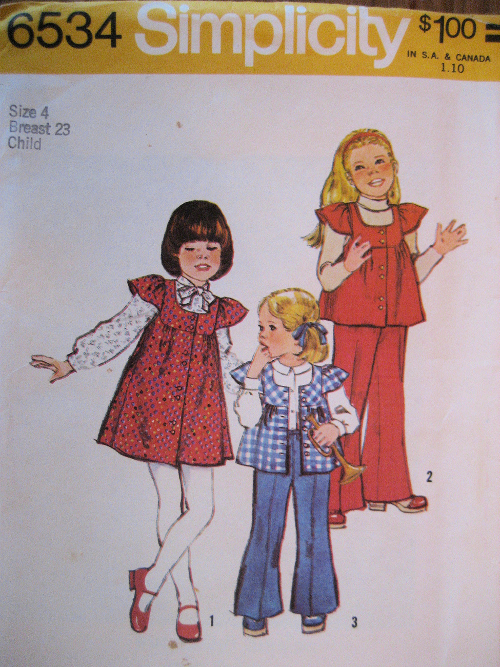 Primary image for Vintage 70s Sewing Pattern Unused Girls 4 Dress Top Pants S6
