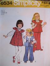 Vintage 70s Sewing Pattern Unused Girls 4 Dress Top Pants S6 - $7.95
