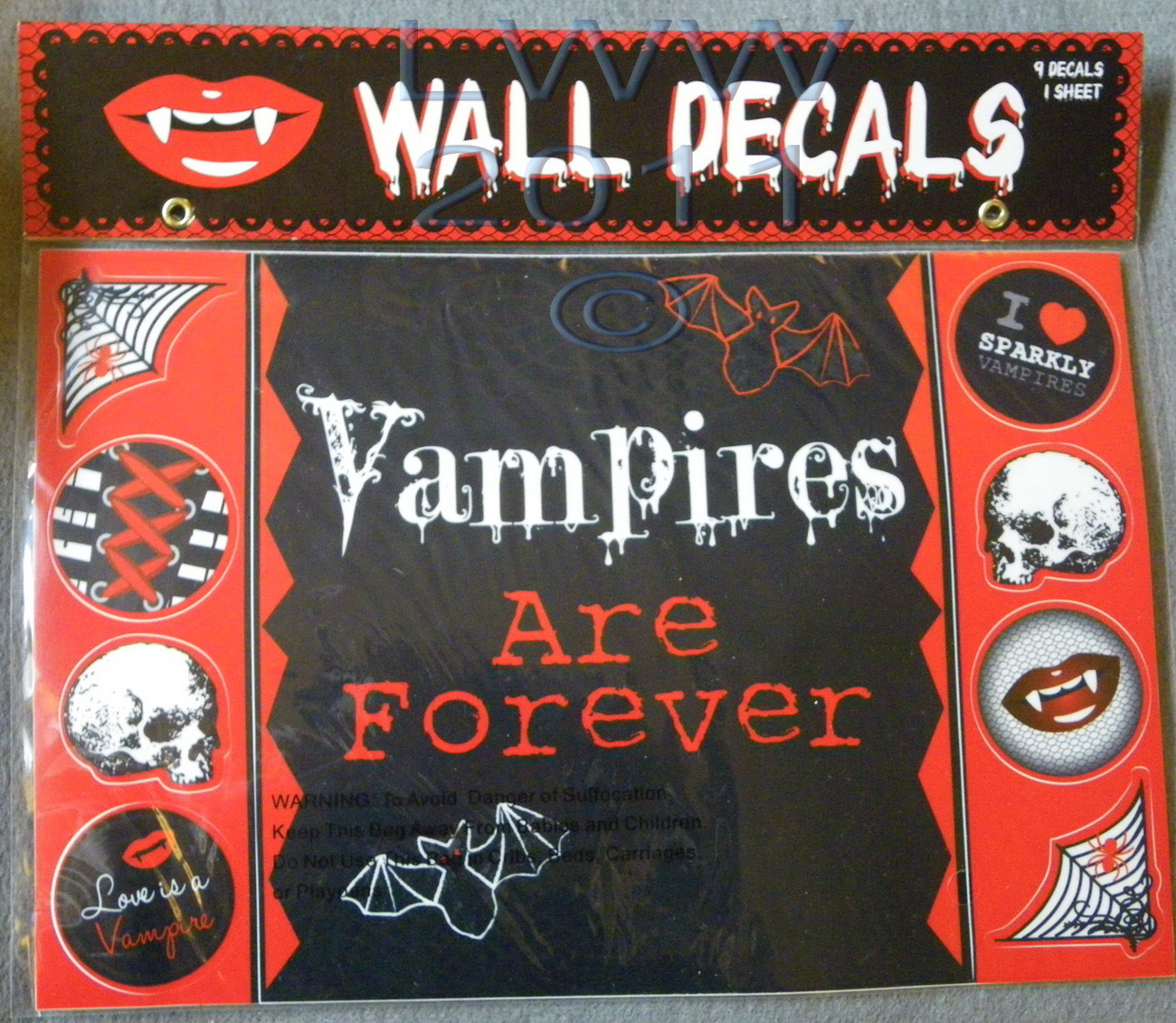 Vampires are Forever Wall Decoration Decals 9 decals on 1 sheet in Package