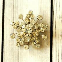 vintage silver star flower crystal rhinestone brooch pin floral signed A... - $29.69
