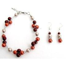 Burnt Orange Pearls Cluster Bracelet Bridesmaid Bracelet Holida - $17.50