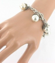 VINTAGE PADLOCK + BIG PEARLS SILVER TONE CHARM BRACELET SO MUCH FUN! - $44.09