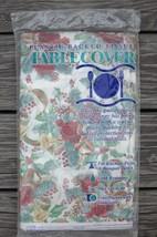 PAPER TABLECLOTH 54 x 104 CHRISTMAS ROSES HORNS LAURETTE CONTEMPO Vtg 1992 - $4.75