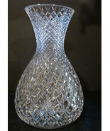 """Crystal 12"""" Cut Glass Vase, Bellied w/ Pinched Neck Diamond Pattern  - $29.99"""
