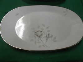 "Magnificent ROSENTHAL Germany PEACH BROWN-GRAY ROSE Large PLATTER 13"" x... - $29.29"