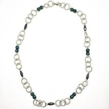 Necklace the Aluminium Long 60 Inch with Hematite Faceted Crystal & image 2