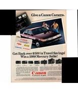 Canon Camera SLR's 35mm 1988 Mercury Sable Car 1988 Antique Advertisement - $1.50