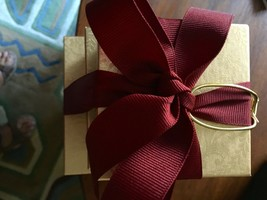 Stacked Holiday Boxes with ribbon Tabletop Decor Under tree Gold Wine Re... - $15.00