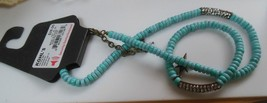 R&R Blue Bead & Rhinestone Necklace and Stretch Bracelet Set - $22.76