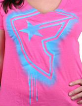 Famous Stars & Straps Womens Chaotic Pink Fizzy BOH V-Neck T-shirt Medium NWT image 2