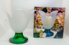 Studio Nova Candleholder Satin Glass Tulip Flower Green Base Portugal 6.... - $29.96