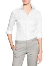 Banana Republic Womens Tailored Non-Iron Button Dot White Size 14 Shirt ... - $32.39