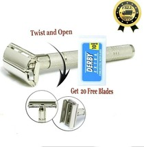 Butterfly Safety Razor & 20 Derby Double Edge Blades Classic Shaving Vin... - $16.78