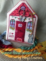 Summer House Scissor Case w/magnet cross stitch chart Romy's Creations  - $18.00