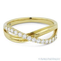 0.30ct Round Cut Diamond Right-Hand Overlap Loop Fashion Ring in 14k Yel... - $735.99