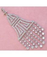 ANTIQUE ART DECO 1.8ctw DIAMOND CHANDELIER TASSEL PLATINUM COCKTAIL PEND... - $4,731.21