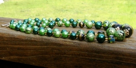 Japan green art glass double strand necklace3 thumb200
