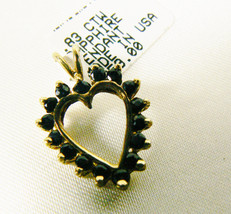 .83 ctw genuine Sapphire 10k yellow gold Heart Pendant $259 free shippin... - $133.85