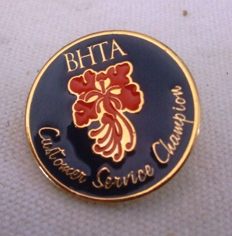 BHTA Barbados Hotel and Tourism Association Customer Service Champ  Pin Pinback